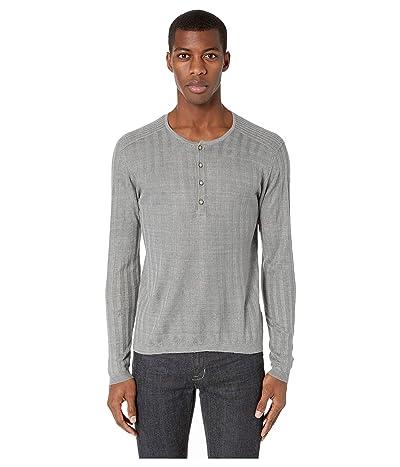 John Varvatos Collection Long Sleeve Ribbed Henley Y2380V1 (Steel Grey) Men