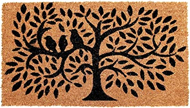 Onlymat Black Tree Printed Natural Coir Doormat with PVC Backing 45 x 75 CM, Color: Black and Brown