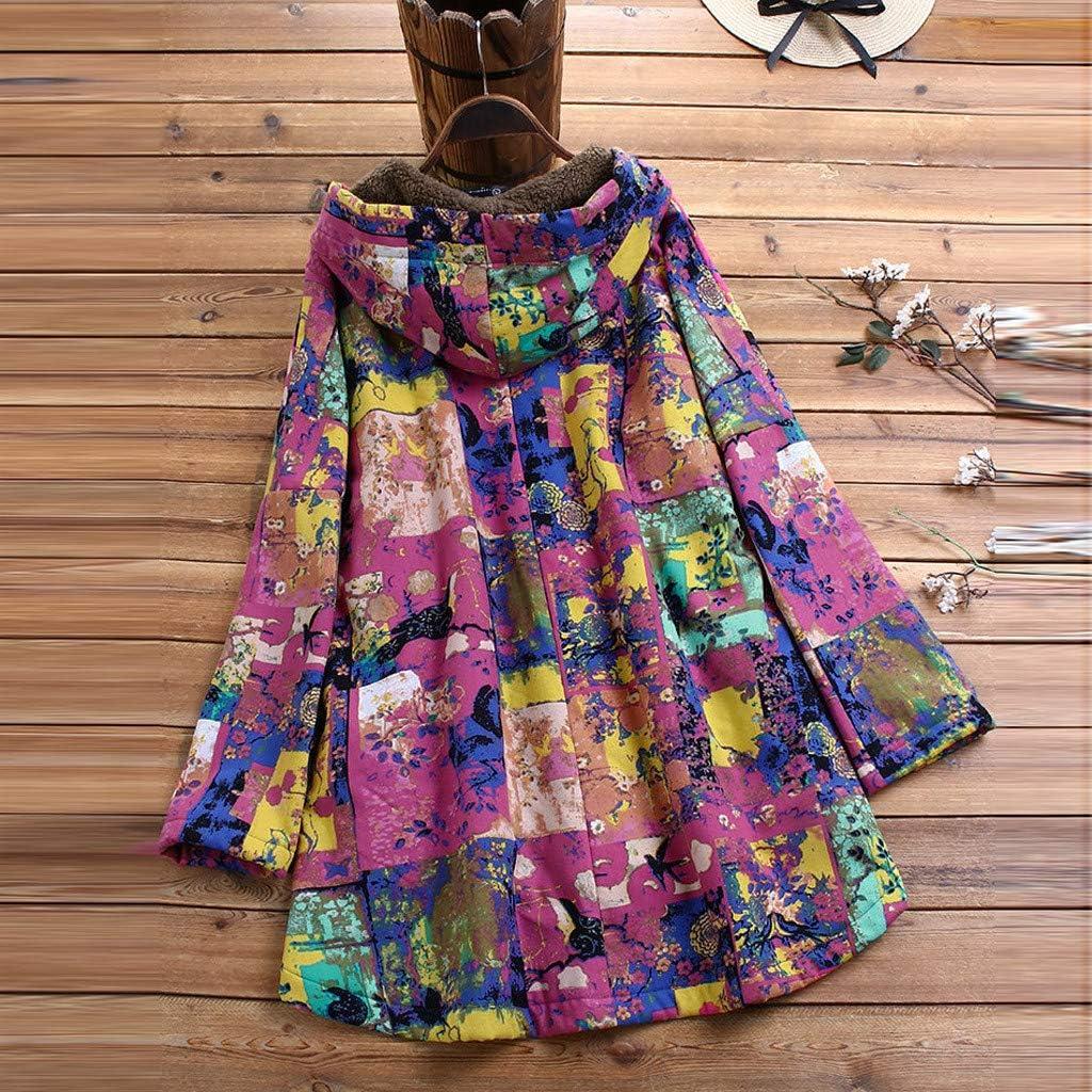 ReooLy Schwarzer FreitagDamen Mantel Zwei Plus Größe Mantel Warmer Mantel Jacke Mantelknopf Plus Samt mit Kapuze Zweiteilige Strickjacke Langen Mantel Retro drucken Lila