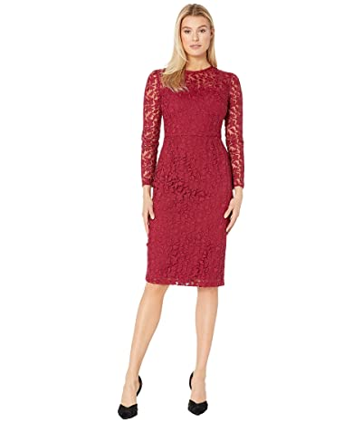 Maggy London Leaf flower Embroidery Novelty Sheath Dress (Cranberry) Women