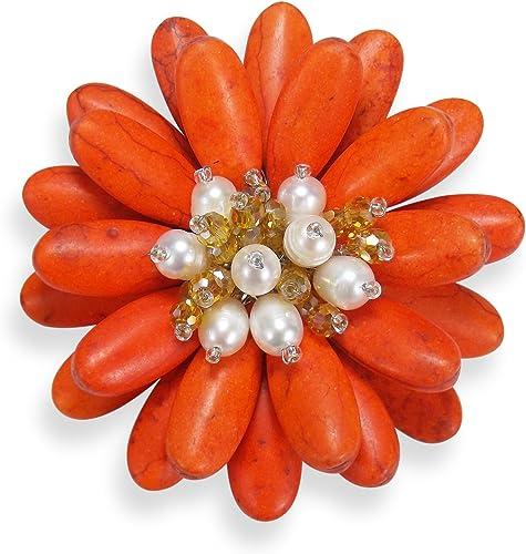 Double Tournesol reconstitué Orange howlite et de culture d'eau douce Blanc perle Floral broches ou broche