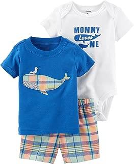 Carter ' s 婴儿男孩3m-24m 3件套鲸鱼连体衣上衣格子短裤套装