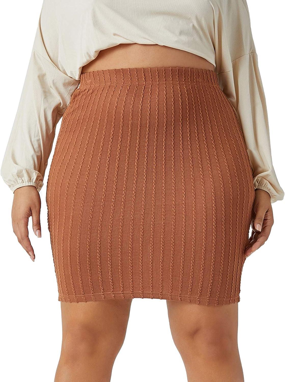 SheIn Women's Plus Size High Elastic Waist Bodycon Solid Short Mini Pencil Skirt