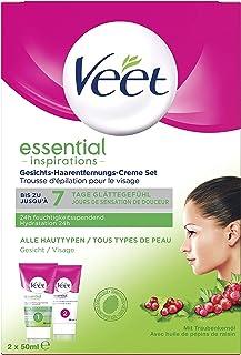Veet Gezichtsontharingscrème voor gevoelige huid met aloë vera en vitamine E, verpakking van 2 (2 x 50 ml)