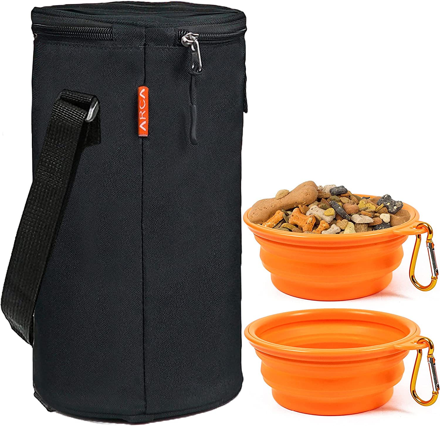 ARCA PET Portable Travel Dog Bowl Kit for Food and Water - 15 Cup Dog & Cat Food Storage Bag with 2 Collapsible Bowls (Black)