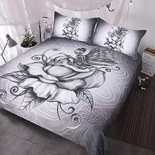 BlessLiving Pale Grey Butterfly Skull Bedding 3 Pcs Retro Skull and Roses Duvet Cover Super Soft Romantic Dark Bed Set King