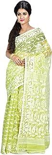 SareesofBengal Women's CottonSilk Handloom Jamdani Dhakai Saree Lemon Yellow