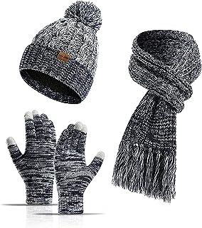 CJDM Ensemble de Trois pièces de Gants à écran Tactile en Laine tricotée d'hiver