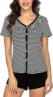 Ekouaer Pajamas Set Women's Short Sleeve Button Sleepwear Striped PJ Set Nightwear(S-XXL)