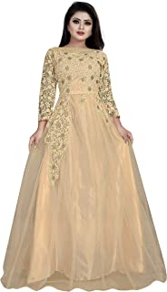 JULEE Women's Net Embroidery Semi-Stitched Gown