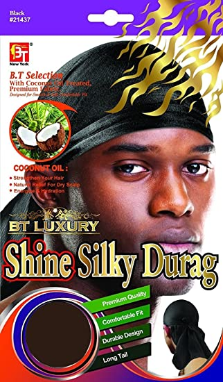 Set of 2 Shiny /& Silky Deluxe DuRag Yellow /& Light Blue Smooth /& Thick