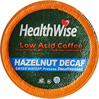HealthWise Hazelnut Low Acid Swiss Water Decaffeinated Coffee for Keurig K-Cup Brewers, 100% Colombian Decaf -12 count