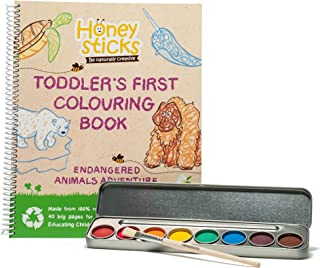 Honeysticks My First Colouring Book and Non Toxic Watercolour Paint Set, Premium Quality Jumbo Colouring Book Made with Re...