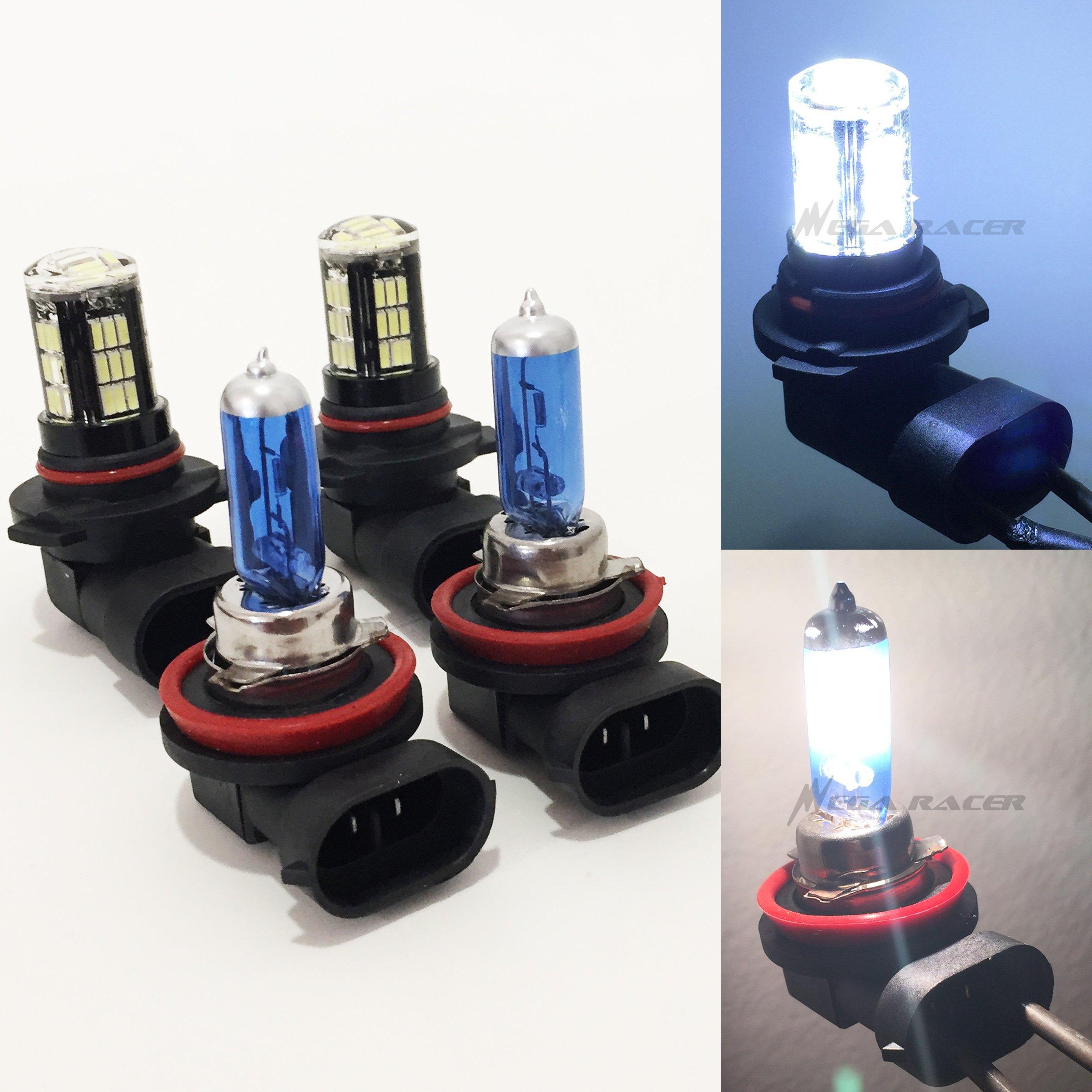 H11 9005 SUPER WHITE 100 WAT XENON HID HALOGEN LIGHT BULBS LOW/&HIGH BEAM COMBO