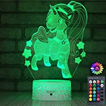 INSONJOHY Unicorn Gifts Toys 3D Night Light with Remote & Smart Touch 7 Colors + 16 Colors Changing Dimmable Unicorn Lamps 1 2 3 4 5 6 7 8 Year Old Kids or Girl Women Gifts (Pretty Unicorn&Girl)