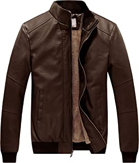 Men's Winter Stand Collar Moto Bomber Faux Leather Jackets