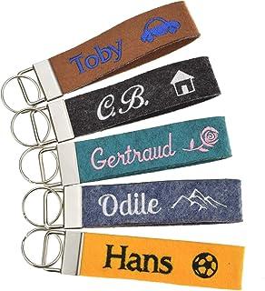 Schlüsselanhänger bestickt mit Name und Symbol in 34 Filz-Farben - mit Text, personalisiert, Bestickung Name Wunschtext Sc...