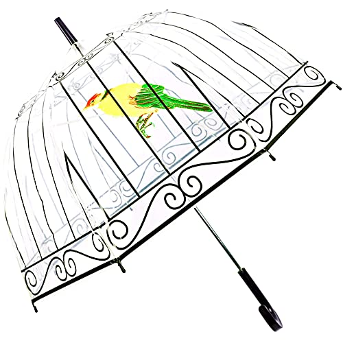 umbrella birds amazon Push Pull Hook kung fu smith birdcage clear bubble dome umbrella see through plastic umbrella for kids girls