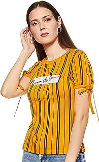 OCTAVE Women's Model Sinker AOP Stripe Gather Knot Sleeve T-Shirt, Mustard