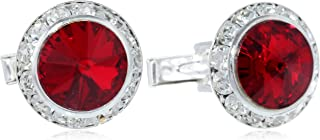 Men's Silver Ruby Crystal Rondell Cuff Link