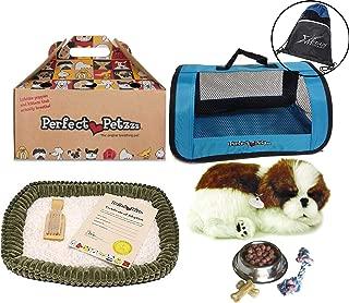 Perfect Petzzz Shih Tzu Plush Blue Tote Plush Breathing Pet Dog Food, Treats Chew Toy Myriads Drawstring Bag