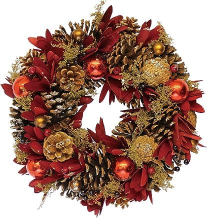 彩か リース Wreath-Red Ball & Flower M CXO-326M 本体: 奥行32cm 本体: 高さ8cm 本体: 幅32cm