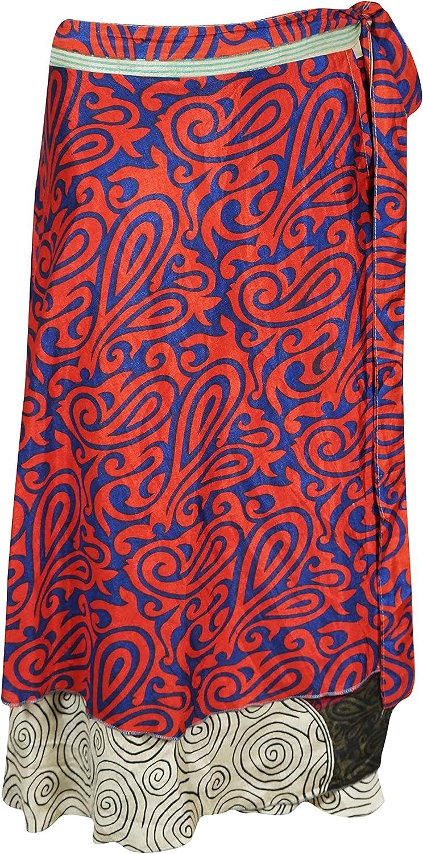 Indiatrendzs Women's Magic Wrap Around Skirt Red Paisley Print Reversible One Size