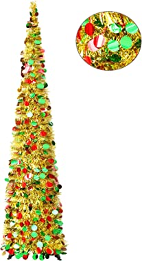 YuQi 5FT Pop Up Christmas Gold Tinsel Trees W/Colorful Reflective Sequins, Collapsible Artificial Pencil Xmas Slim Tree w/Stand Easy-Assembly Reusable for Home Decoration (Golden Colorful)