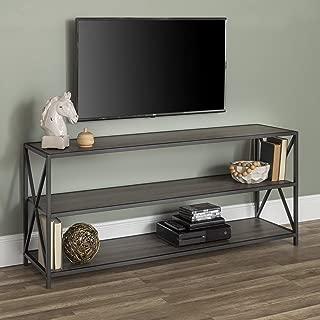 WE Furniture AZS60XMWSG 2 Shelf Industrial Wood Metal...