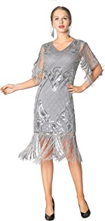 Metme 20s Party Dresses Art Deco Sequins Fringed Gatsby Flapper Cocktail Dress with 2/3 Sleeves