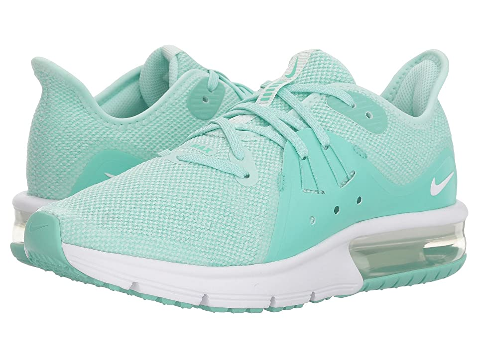 Nike Kids Air Max Sequent 3 (Big Kid) (Igloo/White/Emerald Rise) Girls Shoes