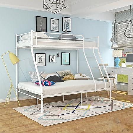 Panana Triple 3 Sleeper Metal Bunk Bed Top Single Bed Bottom Double Bed For Children Kids Bedroom White Amazon Co Uk Kitchen Home