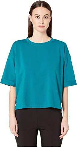 Organic Cotton Stretch Round Neck Elbow Sleeve Top