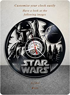 Star Wars vinyl clock, Boba Fett vinyl wall clock, vinyl record clock yoda leia organa luke skywalker jedi home decor birthday gift 166 - (a2)