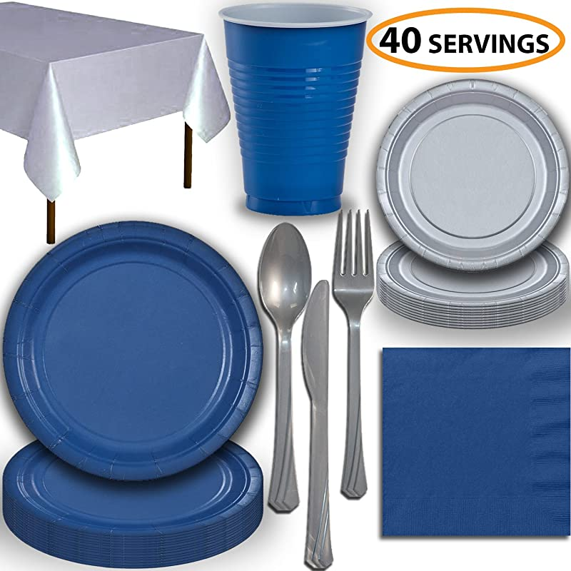 Disposable Party Supplies Serves 40 Blue And Silver Large And Small Paper Plates 12 Oz Plastic Cups Heavyweight Cutlery Napkins And Tablecloths Full Two Tone Tableware Set
