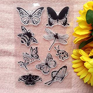 GAWEI Insect Butterfly Bee Dragonfly Clear Stamps for Card Making and DIY Scrapbooking Transparent Stamps Silicone Stamps ...
