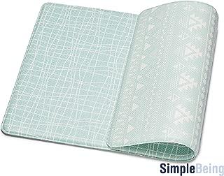 Simple Being Anti Fatigue Kitchen Floor Mat, Comfort Heavy Duty Standing Mats, Ergonomic Non-Toxic Waterproof PVC Non Slip Washable For Indoor Outdoor Home Office (Green Geometric, 32