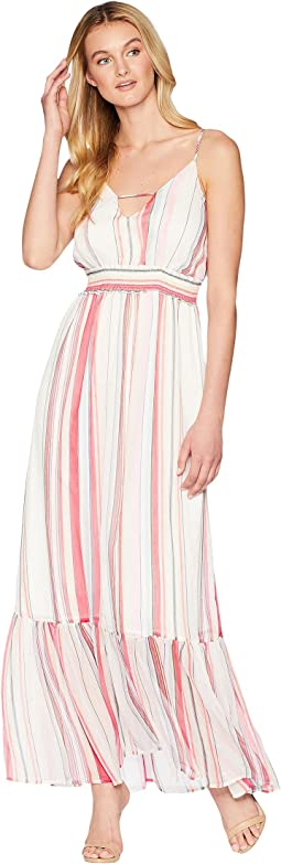 "Luciana ""Umbrella Stripe"" Printed Crinkle Chiffon Maxi Dress"