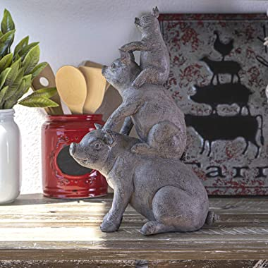 SUMMIT COLLECTION Rustic Decor Barnyard Designs Stacked Piglet Pig Hog Figurine 14.25 inches Tall Kitchen Dining Room Farmhou