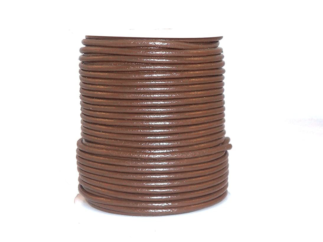 cords craft Round Leather Cord for Round Bracelet, Necklaces Plain Genuine Leather Cord 3.0MM 32 Tan Brown