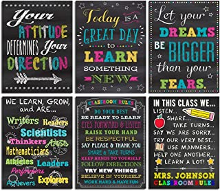 Inspirational Wall Art Classroom Poster - Motivational Quotes and Sayings School Chalkboard Picture Home Office Decoration Canvas Print Kids Room Decor Teacher Student Rules Set of 6 Unframed 12x16''
