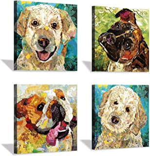 Hardy Gallery Abstract Puppy Artwork Dog Painting: Animal Pet Picture Print on Wrapped on Canvas for Bedroom (12'' x 12'' x 4 Panels)