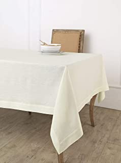 Solino Home 100% Pure Linen Tablecloth - 60 x 102 Inch Ivory, Natural Fabric, European Flax - Athena Rectangular Tableclot...