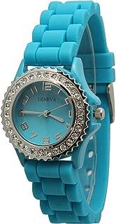 Geneva Silicone Watch Unisex Crystals Rhinestones Wrist Watch Small Size Dial