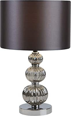 Lighting Collection Modern 1 Light Stacked Ball Table Lamp, E14 (Edison Screw), Smoked Glass, with Grey Shade