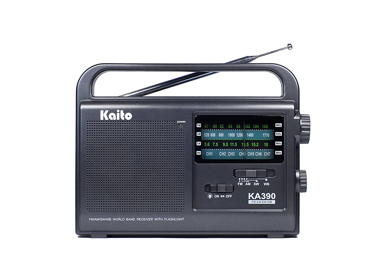 受け入れホバー顕現Kaito KA390 Portable AM/FM Shortwave NOAA Weather Radio with LED Flashlight, Color Black 141[並行輸入]