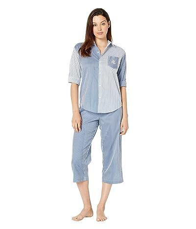 LAUREN Ralph Lauren 3/4 Roll Tab Sleeve His Shirt Capri Pajama Set (Blue Stripe) Women