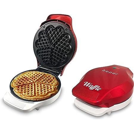Beper - Plancha para Waffle, Gofrera, 5 Gofres a la Vez, Plancha Antiadherente 18 cm, 800 - 100 W, Rojo y Blanco