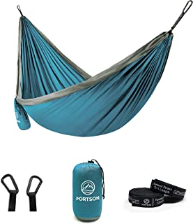 Portson Double Hammock with Tree Friendly Straps, Camping, Travel, Hiking, Backpacking, USA Brand (Sea Blue & Gray)