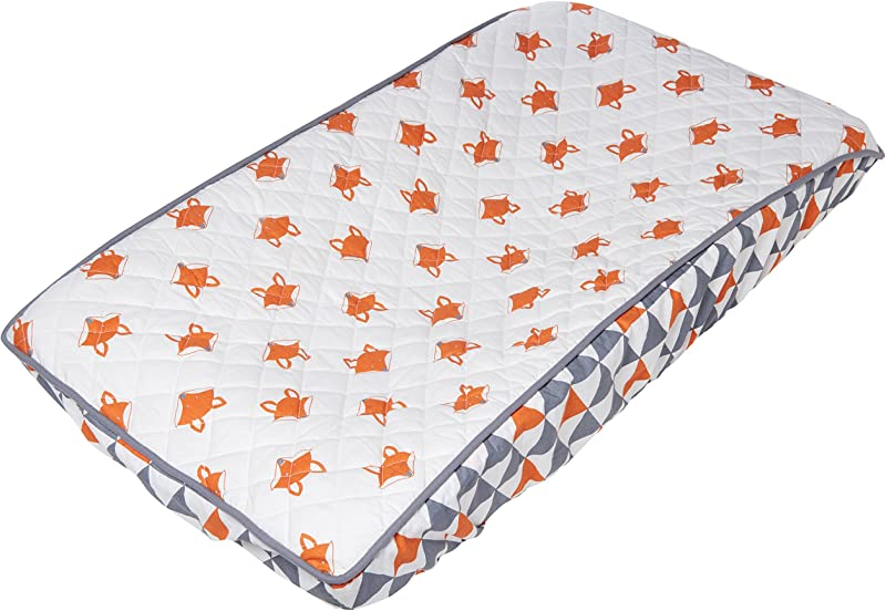 Bacati Playful Foxs Changing Pad Cover Orange Grey Triangles